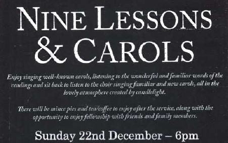 9 Lessons and Carols 22nd Dec 2019 at 6 PM